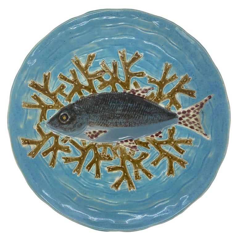 Holdcroft Majolica 7-Piece Salmon Service, Turquoise, English, circa 1875 For Sale 2