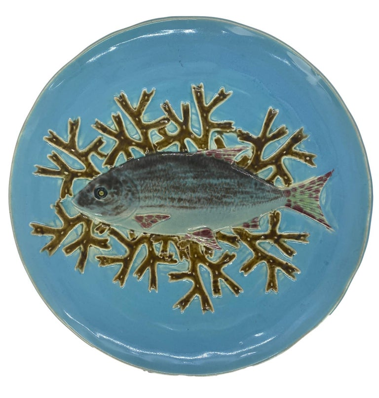 Holdcroft Majolica 7-Piece Salmon Service, Turquoise, English, circa 1875 For Sale 3