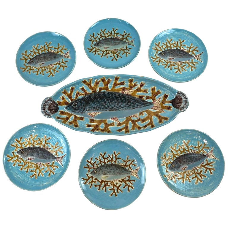 Holdcroft Majolica 7-Piece Salmon Service, Turquoise, English, circa 1875 For Sale
