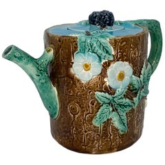 Holdcroft Majolica Blackberry on Tree Trunk Teapot, Turquoise Blue Cover c. 1877
