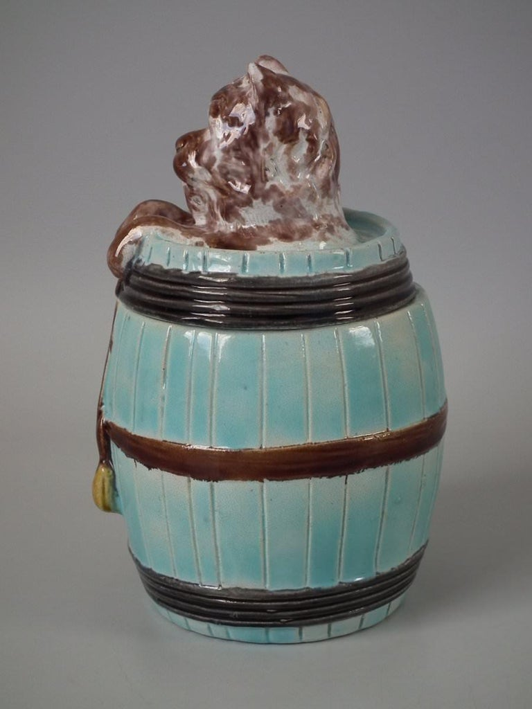 Victorian Majolica Dog in Barrel Tobacco Jar and Cover For Sale