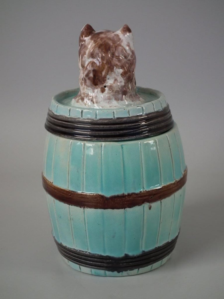 English Majolica Dog in Barrel Tobacco Jar and Cover For Sale