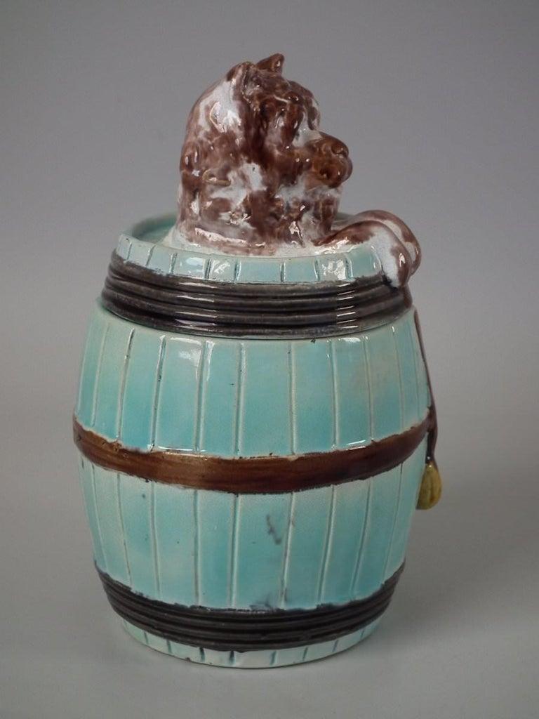 Glazed Majolica Dog in Barrel Tobacco Jar and Cover For Sale