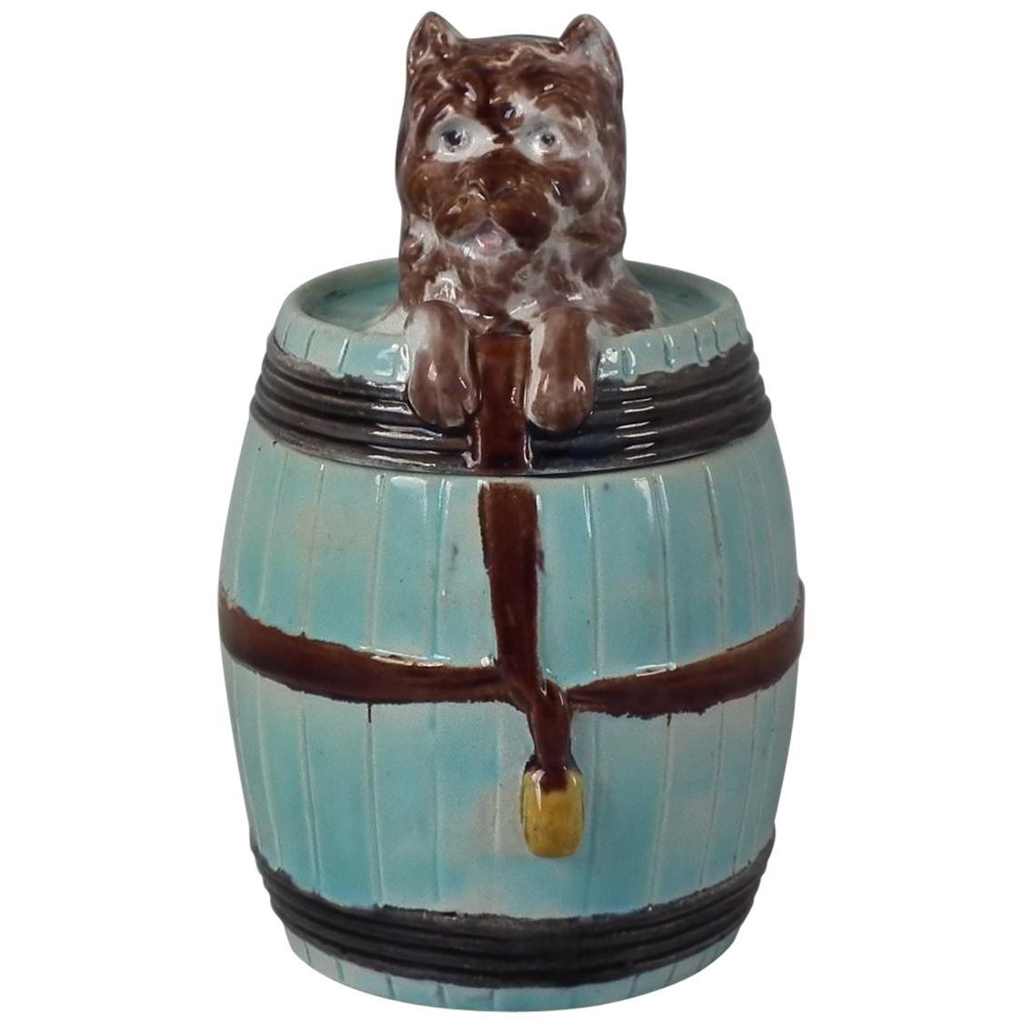 Majolica Dog in Barrel Tobacco Jar and Cover