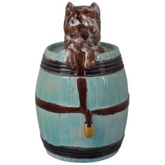 Majolica Dog in Barrel Tobacco Jar and Cover