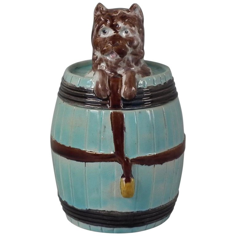 Majolica Dog in Barrel Tobacco Jar and Cover For Sale