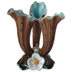 Holdcroft Majolica Lily Triple Posy Vase