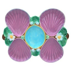 Holdcroft Majolica Pink Oyster Plate, English, circa 1875 Pond Lily Pattern