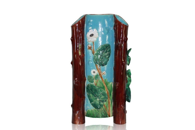Holdcroft Majolica Umbrella Stand, English, circa 1875 In Good Condition For Sale In Banner Elk, NC