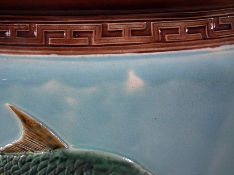 Holdcroft Oval Majolica Fish and Lilies Jardinière For Sale 9