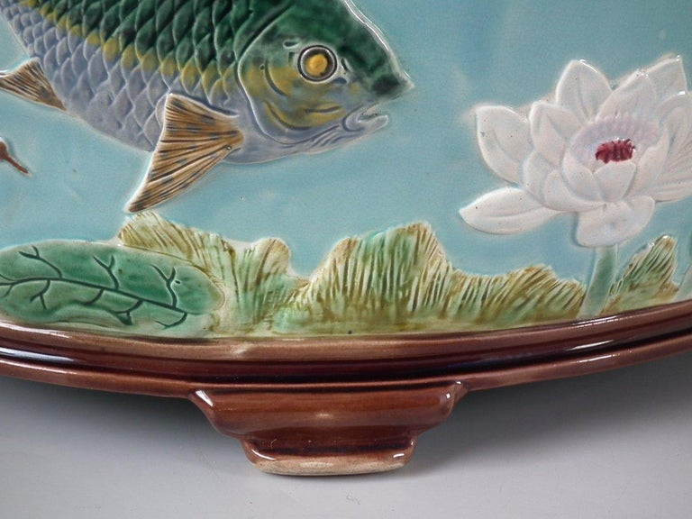 Holdcroft Oval Majolica Fish and Lilies Jardinière For Sale 10