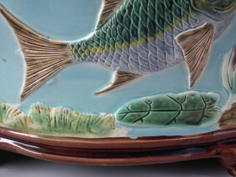 Holdcroft Oval Majolica Fish and Lilies Jardinière For Sale 12