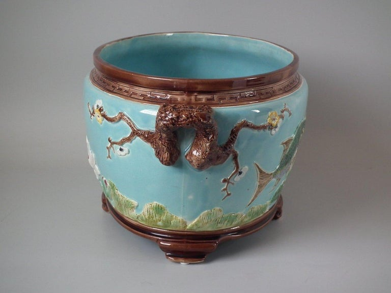 Glazed Holdcroft Oval Majolica Fish and Lilies Jardinière For Sale