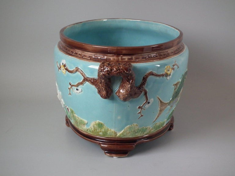 Late 19th Century Holdcroft Oval Majolica Fish and Lilies Jardinière For Sale