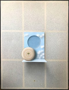 Disk Shelf II, Magritte-like Surreal Painting by Backstrom aka Beck o Jung