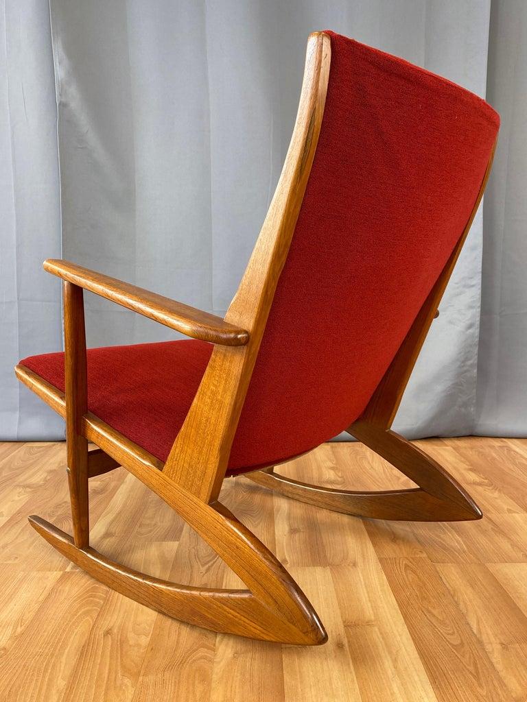 Holger Georg Jensen for Tønder Møbelværk Model 97 Upholstered Teak Rocker, 1958 For Sale 3