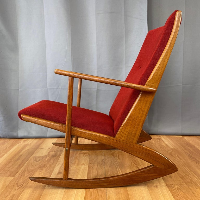 Holger Georg Jensen for Tønder Møbelværk Model 97 Upholstered Teak Rocker, 1958 For Sale 4