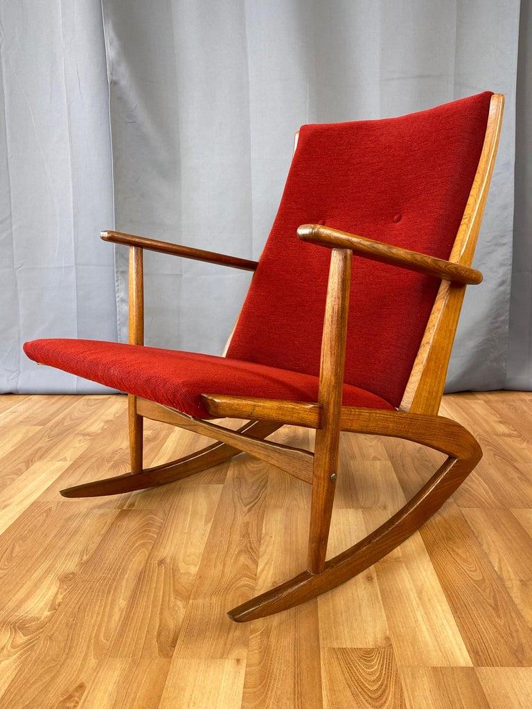 Scandinavian Modern Holger Georg Jensen for Tønder Møbelværk Model 97 Upholstered Teak Rocker, 1958 For Sale