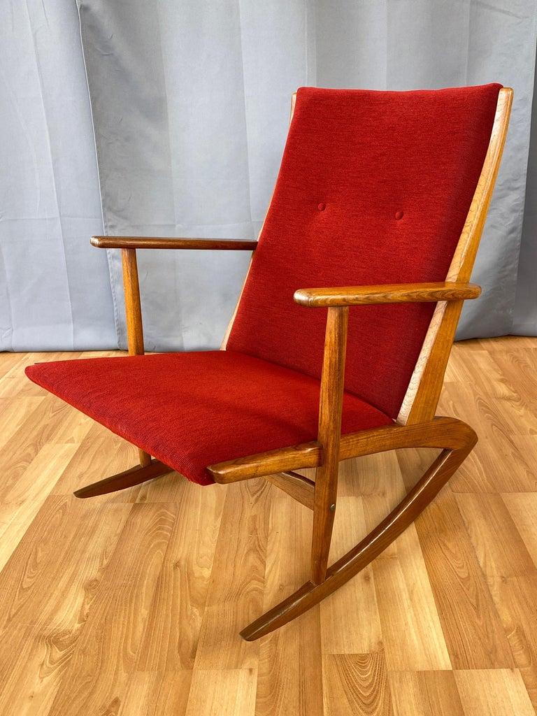 Danish Holger Georg Jensen for Tønder Møbelværk Model 97 Upholstered Teak Rocker, 1958 For Sale