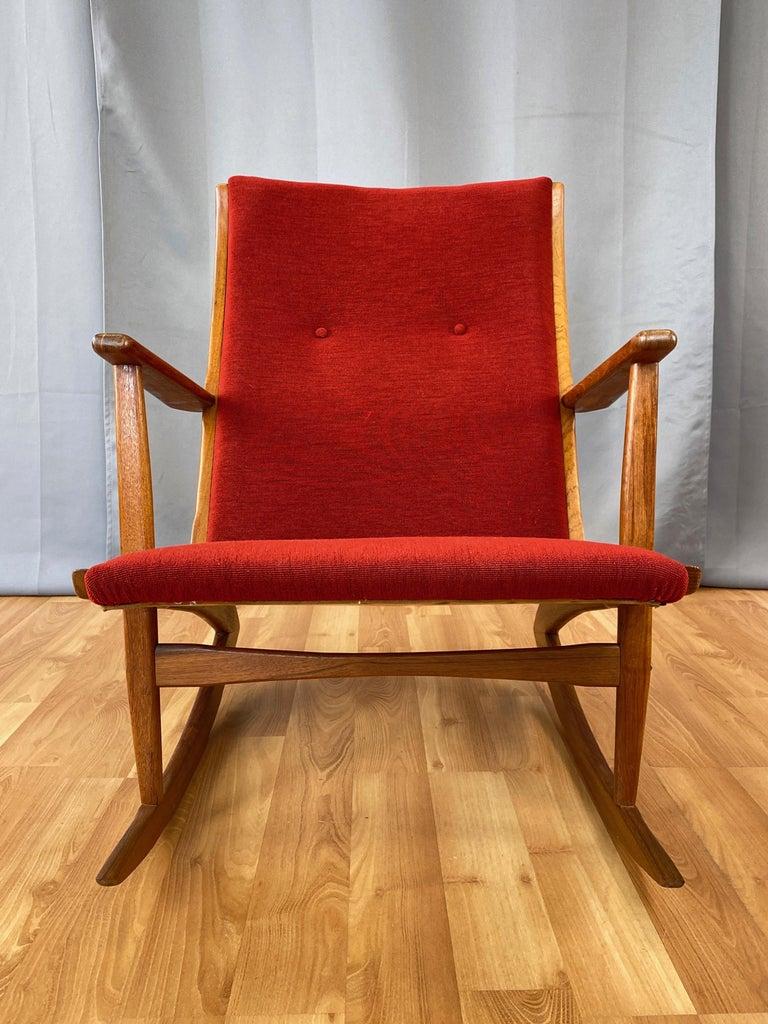 Hand-Crafted Holger Georg Jensen for Tønder Møbelværk Model 97 Upholstered Teak Rocker, 1958 For Sale