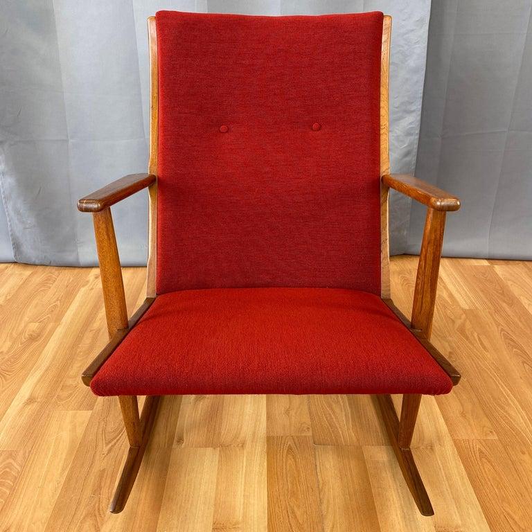 Holger Georg Jensen for Tønder Møbelværk Model 97 Upholstered Teak Rocker, 1958 In Good Condition For Sale In San Francisco, CA