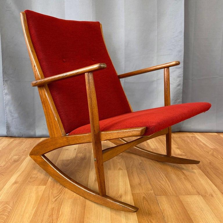 Mid-20th Century Holger Georg Jensen for Tønder Møbelværk Model 97 Upholstered Teak Rocker, 1958 For Sale