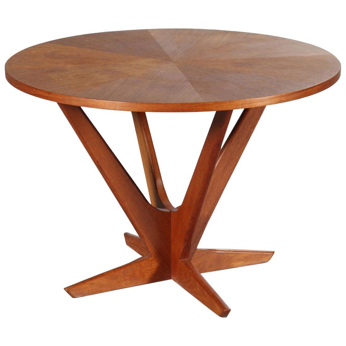 Holger Georg Jensen Kubus Circular Teak Pedestal Coffee Table