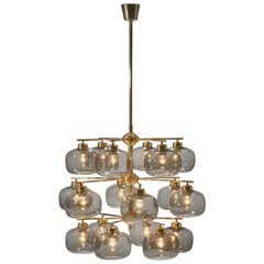 Holger Johansson Chandelier with 18 Smoked Glass Shades for Westal, Sweden, 1952
