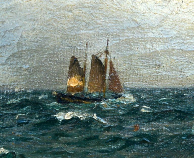 Holger Lübbers - Sailboat on Stormy Seas, dated 1918. Oil on canvas.