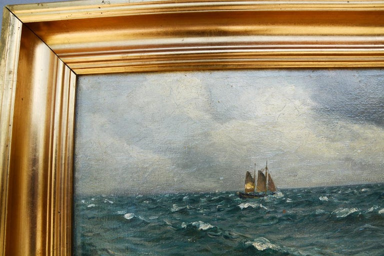 Modern Holger Lübbers, Sailboat on Stormy Seas, Dated 1918 For Sale