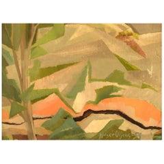 Holger Oijens '1907-2004', Oil on Canvas, Modernist Landscape, 1959