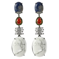 Holiday Collection White Turquoise and Sodalite Dangling Earring Pair