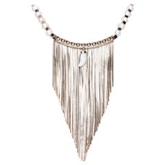 Holiday Necklace with 10 Carat Gold Plated Fringes and Freshwater Pearls