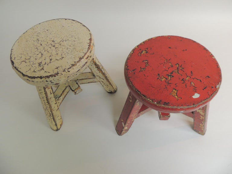 Marvelous Pair Of Small Asian Yellow And Red Lacquered Round Low Customarchery Wood Chair Design Ideas Customarcherynet