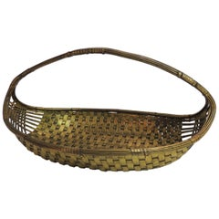 Vintage Flat Brass Decorative Woven Basket with Handle