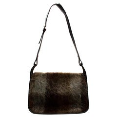 Holland & Holland Brown & Green Mohair & Suede Vintage Messenger Bag