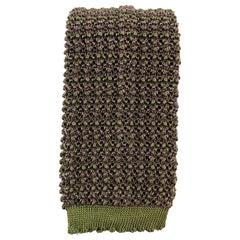 HOLLAND & HOLLAND Brown Purple & Green Silk Textured Knit Tie