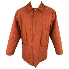 HOLLAND & HOLLAND Size S Rust Quilted Polyester Snaps Coat