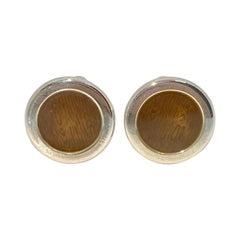 Holland & Holland Wood Grain Cufflinks with Copper-Brown Enamel