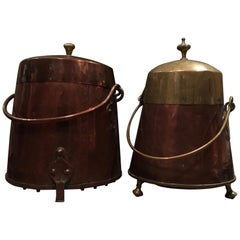 Holland Late 19th-Century Pair of Copper and Brass Milk Buckets Farmhouse Style