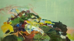 """""""Bear Camp"""", Abstract Oil Painting, Green, Yellow, Landscape"""