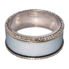 Hollming Fabergé White Enamel Diamond Silver Pill Box