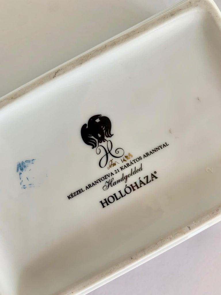 Hollohaza Hand Painted Gilt Porcelain Lidded Box For Sale 1