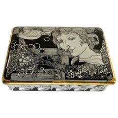 Hollohaza Hand Painted Gilt Porcelain Lidded Box