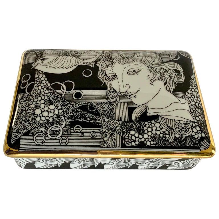 Hollohaza Hand Painted Gilt Porcelain Lidded Box For Sale