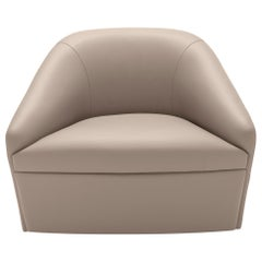 In stock in Los Angeles, Grey Leather Swivel Chair, Made in Italy
