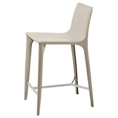 HOLLY HUNT Adriatic Counter Stool in Polished Chrome and Ice Grey Leather Finish