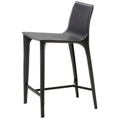 HOLLY HUNT Adriatic Counterstool in Matte Black and Dark Grey Leather