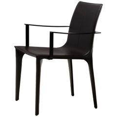 HOLLY HUNT Adriatic Dining Armchair in Metal Frame with Dark Grey Leather