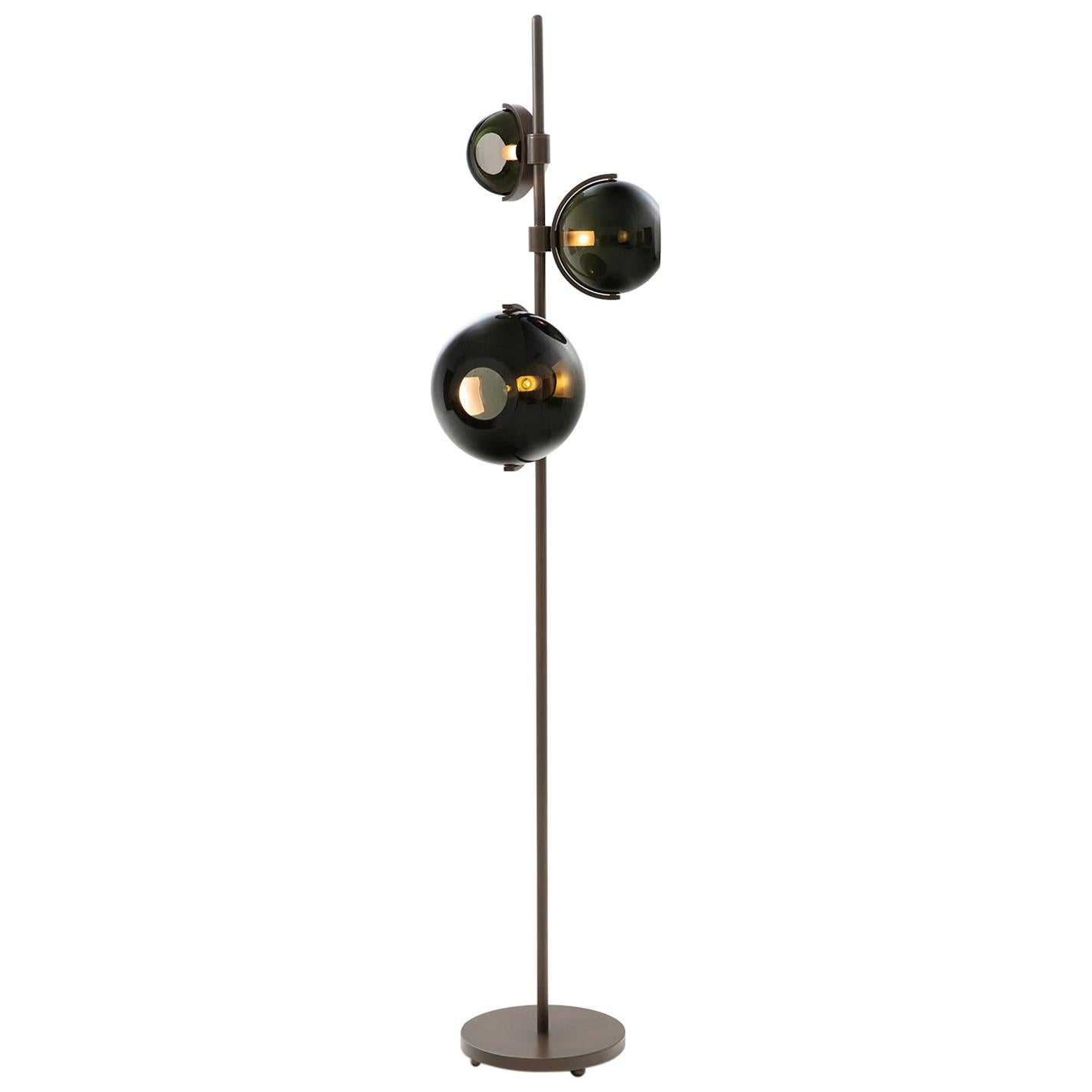 HOLLY HUNT Another Day Floor Lamp with Brass & Glass by Damien Langlois-Meurinne